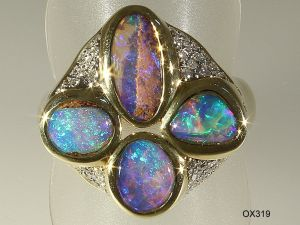 Opalring Gelbgold mit Opal-Holz