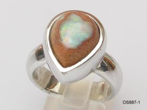 Opalring Silber mit Fossil-Opal
